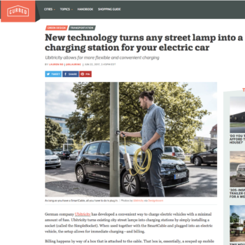 New technology turns any street lamp into a charging station for your electric car