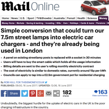 Simple conversion that could turn our 7.5m street lamps into electric car chargers – and they're already being used in London
