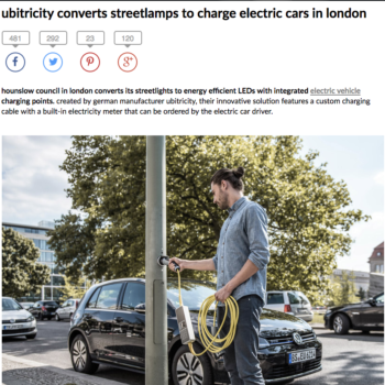 Designboom – Ubitricity converts streetlamps to charge electric cars in London