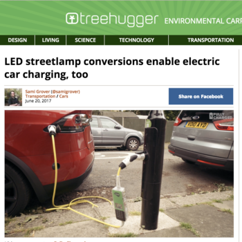 LED streetlamp conversions enable electric car charging, too