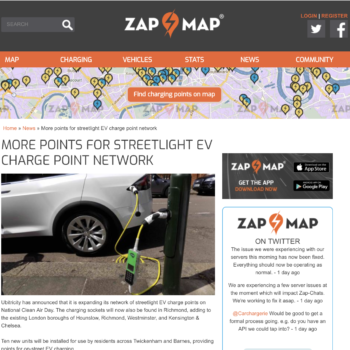 More points for streetlight EV charge points network