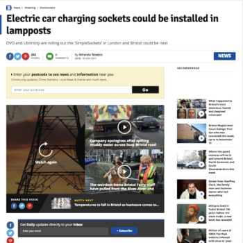 Electric car charging sockets could be installed in lampposts