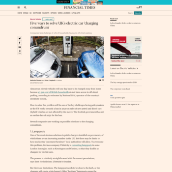 Five ways to solve UK's electric car 'charging conundrum'